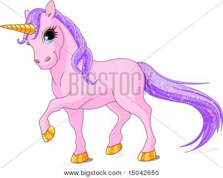 Vector Illustration of walking cute pink Unicorn.