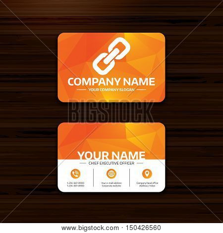 Business or visiting card template. Link sign icon. Hyperlink chain symbol. Phone, globe and pointer icons. Vector