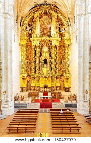 SALAMANCA, SPAIN - September 02, 2016: Gold baroque altar in Convent of St. Stephen in Salamanca