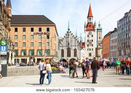 MUNICH, GERMANY - May 18, 2016: People on Marienplatz square in Munich