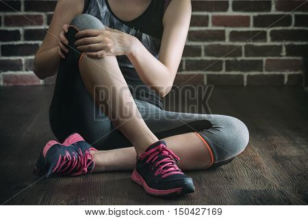 Her Knee Feel Painful After Fitness Exercise, Healthy Lifestyle Concept