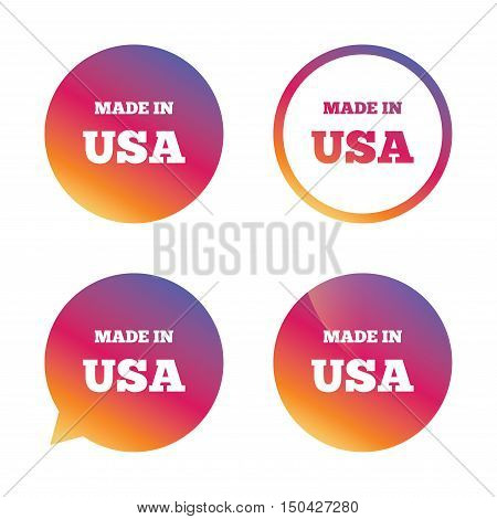 Made in the USA icon. Export production symbol. Product created in America sign. Gradient buttons with flat icon. Speech bubble sign. Vector