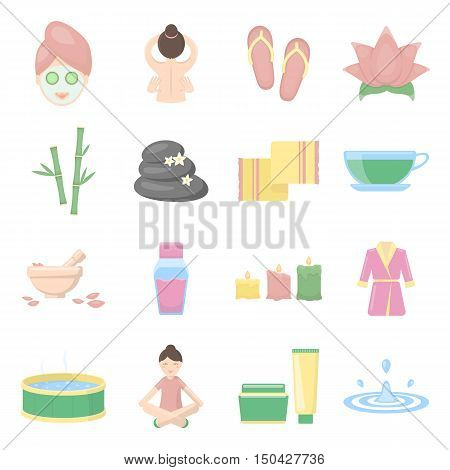Spa set vector icons. Collection of beauty, makeup, massage icons for web