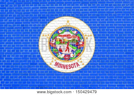 Minnesotan official flag symbol. American patriotic element. USA banner. United States of America background. Flag of the US state of Minnesota on brick wall texture background, 3d illustration