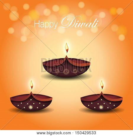Diwali poster. Burning diya on orange bokeh background. Vector illustration.
