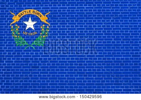 Nevadan official flag symbol. American patriotic element. USA banner. United States of America background. Flag of the US state of Nevada on brick wall texture background, 3d illustration
