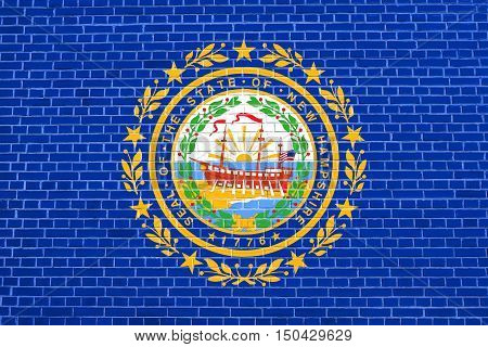 New Hampshirite official flag symbol. American patriotic element. USA banner. United States of America background. Flag of the US state of New Hampshire on brick wall texture background, 3d illustration