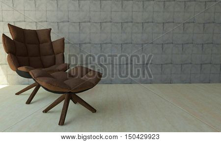 Luxury room with chairs on floor and white brick wall with copyspace-3d rendering
