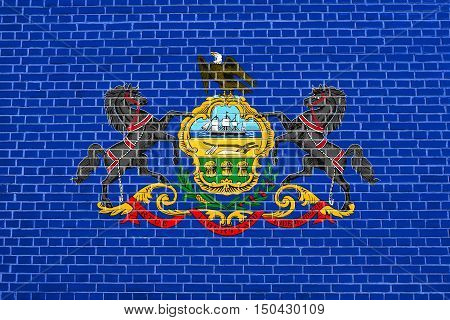 Pennsylvanian official flag symbol. American patriotic element. USA banner. United States of America background. Flag of the US state of Pennsylvania on brick wall texture background, 3d illustration