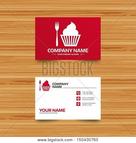 Business card template. Eat sign icon. Dessert trident fork with muffin. Cutlery symbol. Phone, globe and pointer icons. Visiting card design. Vector