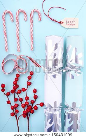Red, White And Pale Blue Christmas Background.