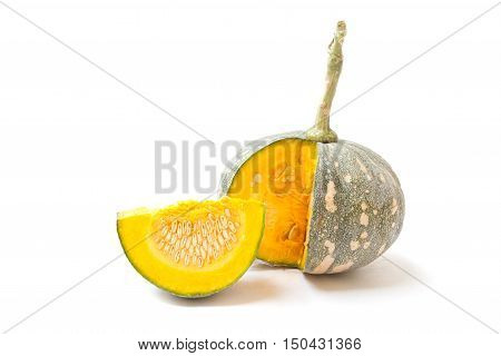 Green pumpkin isolated on the white background. Scientific name Cucurbita moschata Duchesne