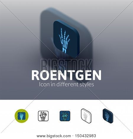 Roentgen color icon, vector symbol in flat, outline and isometric style isolated on blur background