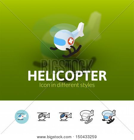 Helicopter color icon, vector symbol in flat, outline and isometric style isolated on blur background