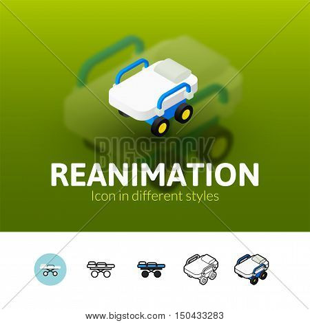 Reanimation color icon, vector symbol in flat, outline and isometric style isolated on blur background