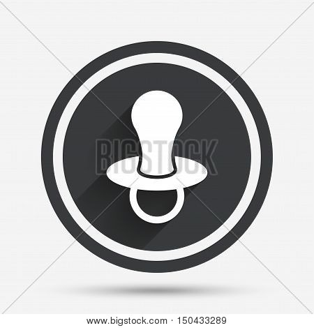 Baby's dummy sign icon. Child pacifier symbol. Circle flat button with shadow and border. Vector