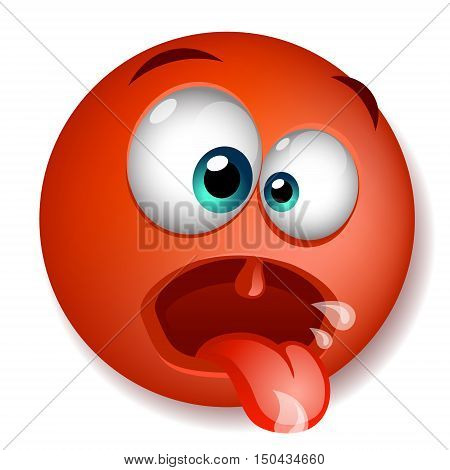 Red crazy character funny with his mouth open. isolated on white background. Vector illustration
