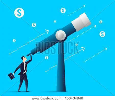 businessman looking through a telescope.business concept. Vector illustration