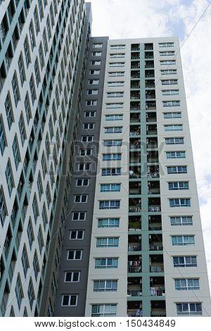 BANGKOK THAILAND- JULY 31: High Rise Condominiums on July 31 2016 in Bangkok Thailand.