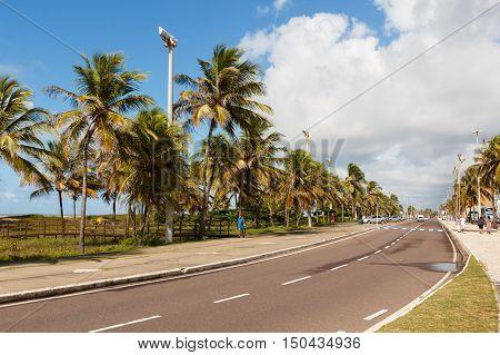 ARACAJU SE/BRAZIL - JUNE 24: Catwalk Passarela de caranguejo on famous beach Orla da Atalaia on June 24 2016 in Aracaju. Aracaju is capital of Sergipe hosts 7 teams for Summer Olympics. Selective focus