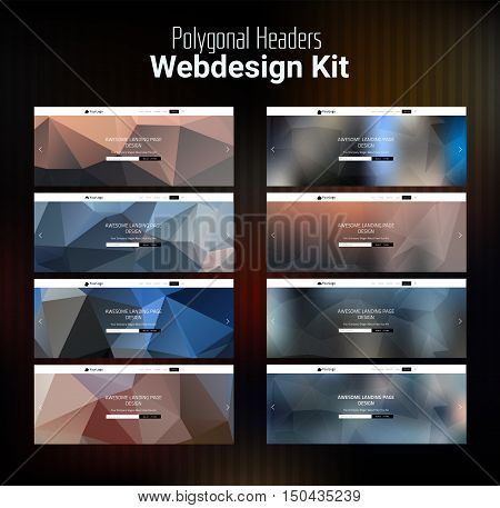 Trendy blurred polygonal website header slider webdesign kit