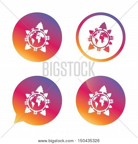 Happy new year earth sign icon. Gifts and trees symbol. Full rotation 360. Gradient buttons with flat icon. Speech bubble sign. Vector