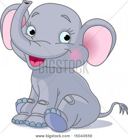 Very Cute baby elephant sitting  and smiling