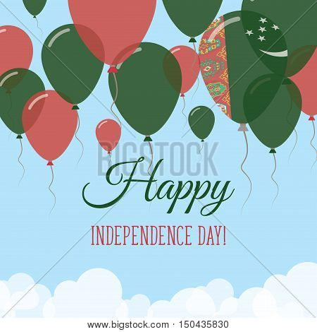 Turkmenistan Independence Day Flat Greeting Card. Flying Rubber Balloons In Colors Of The Turkmen Fl