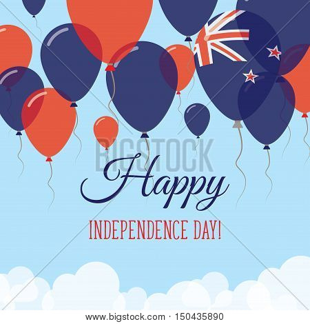 New Zealand Independence Day Flat Greeting Card. Flying Rubber Balloons In Colors Of The New Zealand