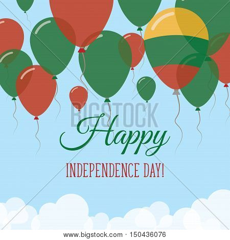 Lithuania Independence Day Flat Greeting Card. Flying Rubber Balloons In Colors Of The Lithuanian Fl
