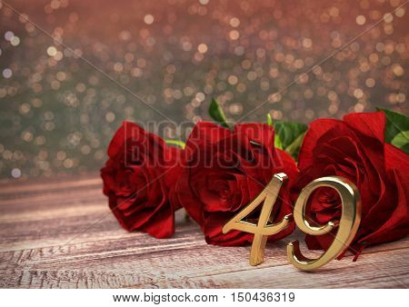 birthday concept with red roses on wooden desk. 3D render - forty-nineth birthday. 49th