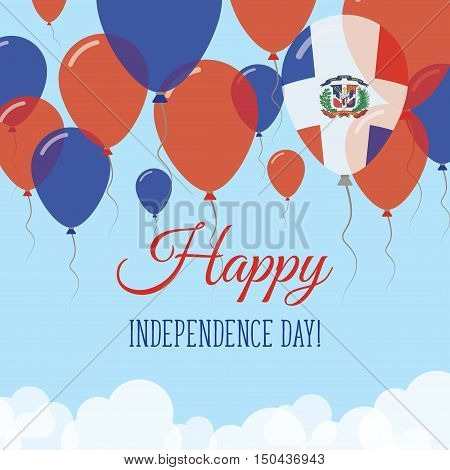 Dominican Republic Independence Day Flat Greeting Card. Flying Rubber Balloons In Colors Of The Domi