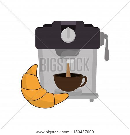 coffee maker machine with caffeine beverage and croissant. vector illustration