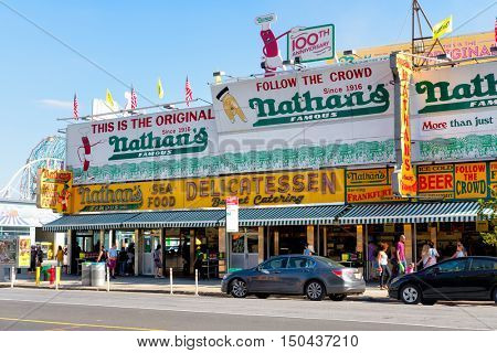 NEW YORK,USA - AUGUST 18,2016 : The original Nathan's Famous hot dogs restaurant in Coney Island