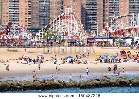 NEW YORK,USA - AUGUST 18,2016 : Coney Island beach and the Luna Park amusement park