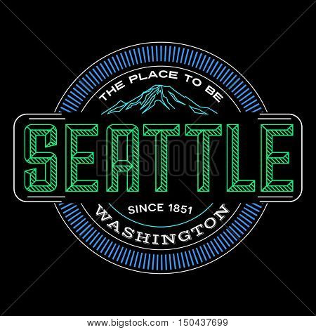 seattle, washington linear emblem design for t shirts and stickers