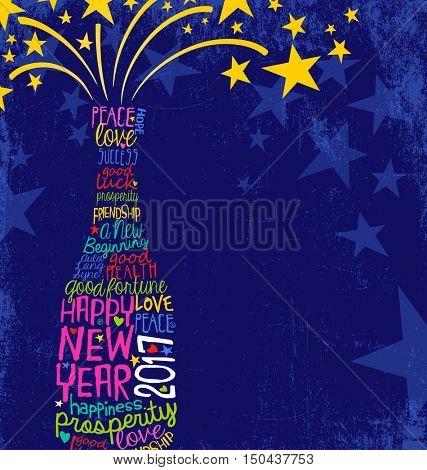 Happy New Year 2017 retro design. abstract champagne bottle bursting. inspiring handwritten words