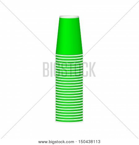 Stack of cups in green design on white background