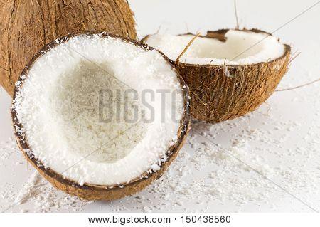 Halved Fresh Coconut And Powder