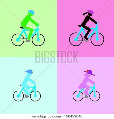 man, woman, boy and girl with cycling action in the simple vector format