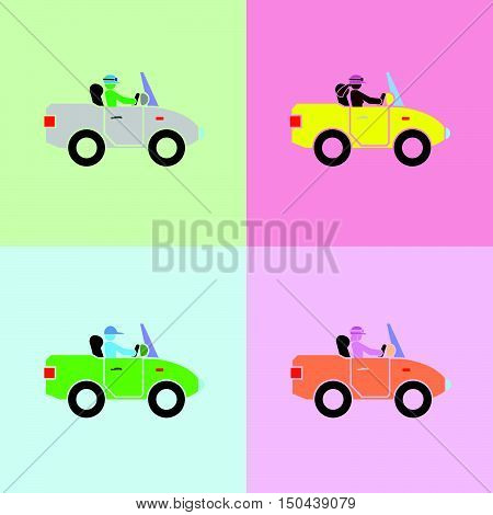 man, woman, boy and girl with driving action in cars by the simple vector format