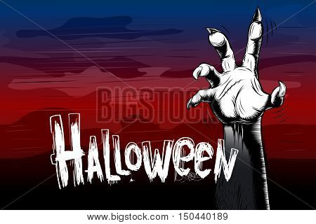 Halloween party background from corpses zombies hand in the fog; Hand-drawn in old-style vintage ink hatching vector Eps10
