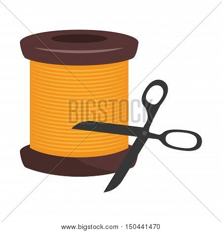 spool of yellow thread  with scissors tool. vector illustration