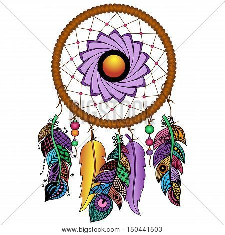 Hand drawn Native American Indian talisman colored dreamcatcher with feathers and moon. Vector hipster illustration isolated on white. Ethnic design, boho chic, tribal symbol.