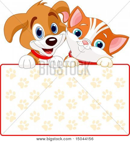 Cat and dog holding sign (add your own message)