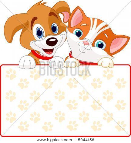 Gato y perro con cartel (agregar su propio mensaje)