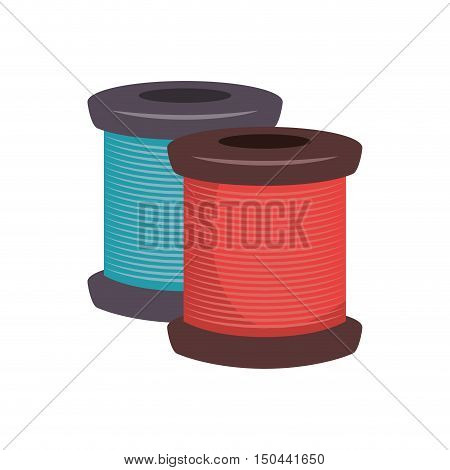 spool of red and blue thread icon. vector illustration