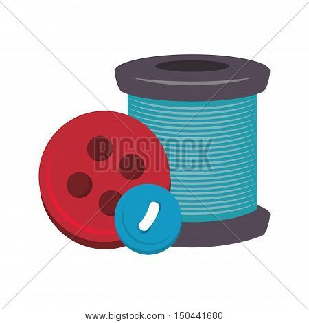 spool of thread and colorful buttons icon. vector illustration