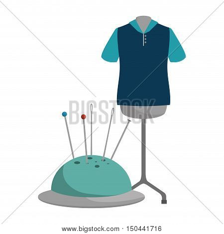 pincushion with pins and needles and garments  icon. colorful design. vector illustration