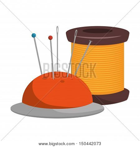 spool of thread and pincushion with pins and needle icon. vector illustration